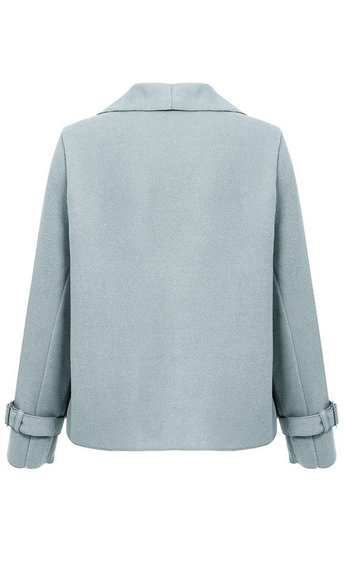 Top Of The Chain Light Gray Long Sleeve Wool Blend Loose Open Front Crop Jacket Outerwear - 2 Colors Available