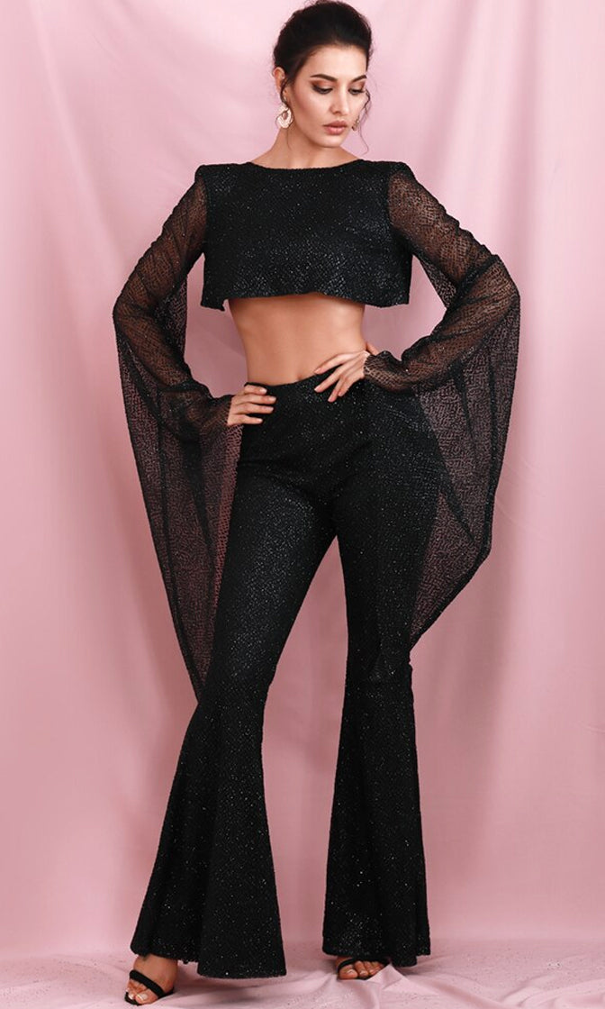 Turn The Beat Around Black Glitter Extra Long Flare Sleeve Round Neck Crop Hem Backless Strap Flare Leg One Piece Jumpsuit