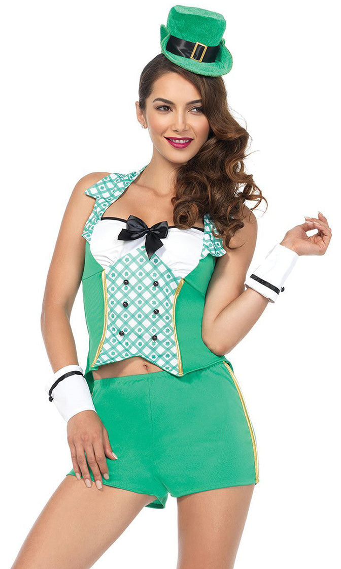 Lucky Leprechaun Green White Clover Floral Pattern Sleeveless Halter Bodycon Short Two Piece Romper Halloween Costume