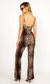 Timing Is Everything Leopard Print Animal Pattern Sleeveless Spaghetti Strap Bustier Wide Leg Loose Jumpsuit - Sold Out