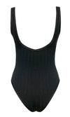 Flying All Night Black Sleeveless Ribbed Deep Scoop Neck Open Back Bodysuit Tank Top