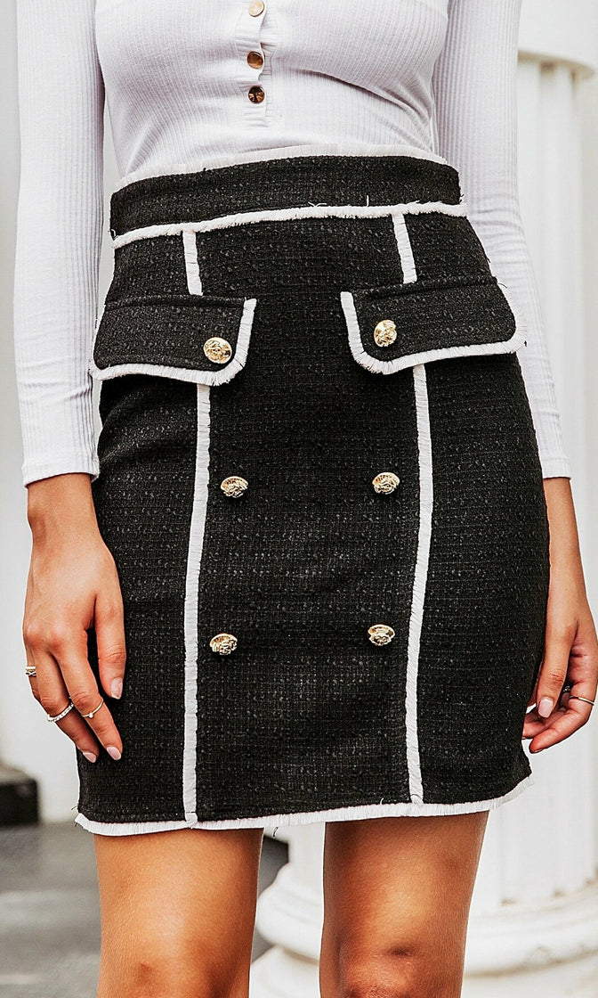 Off To Paris Black White Tweed High Waist Button Flap Front Pencil Mini Skirt
