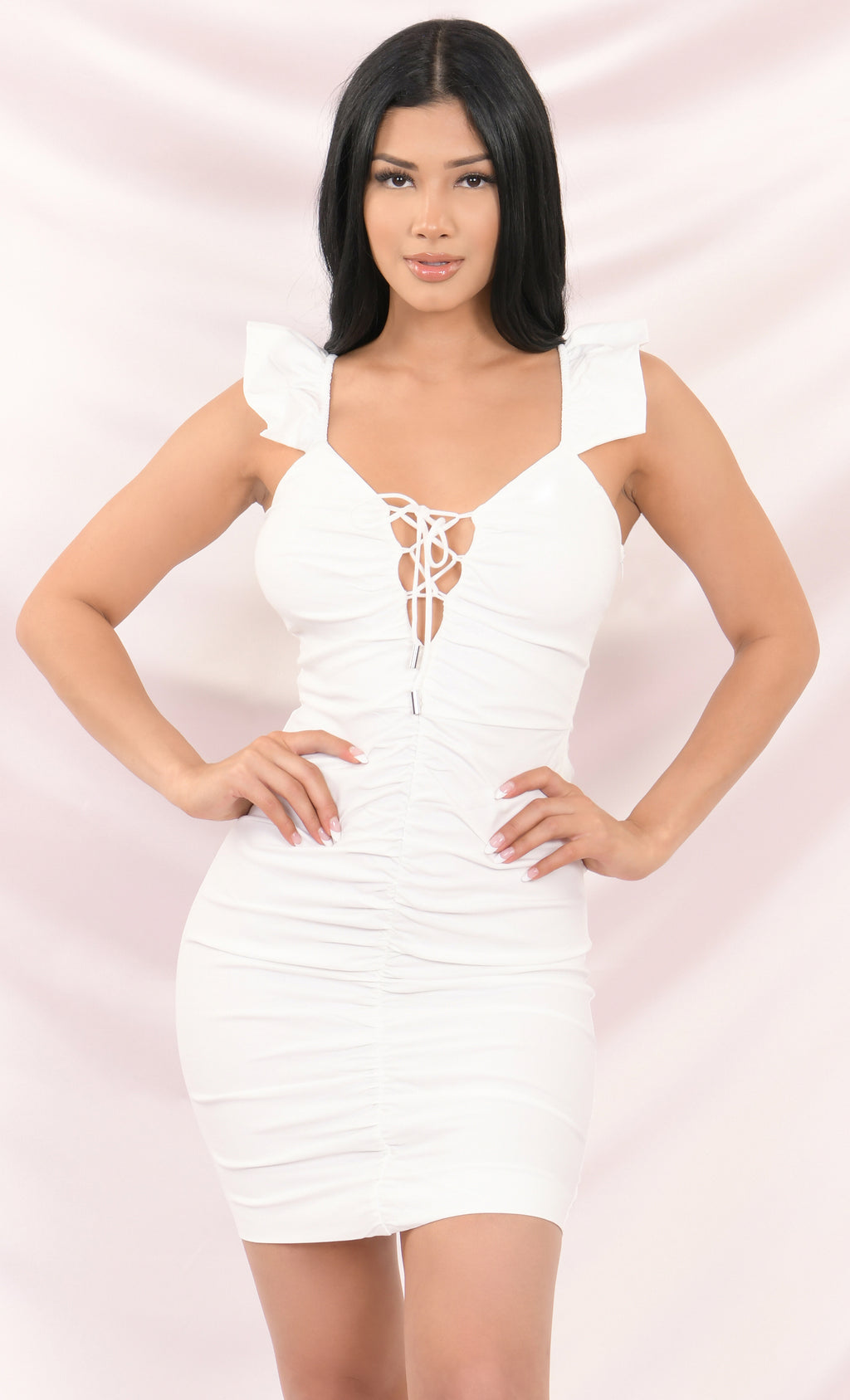 The Other Woman White Ruffle Cap Sleeve V Neck Lace Up Ruched Bodycon Mini Dress