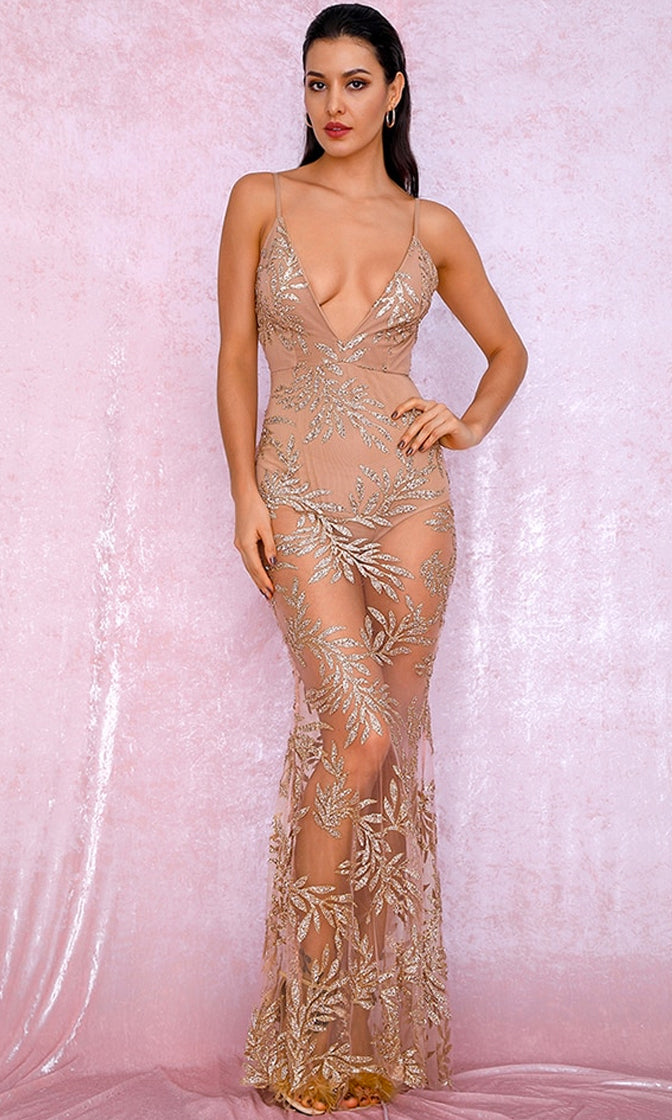 I'm A Legend Nude Gold Sheer Mesh Glitter Leaf Floral Pattern Sleeveless Spaghetti Strap Plunge V Neck Maxi Dress