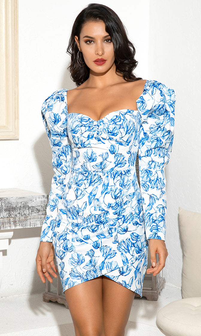 Sweet and Lovely White Blue Floral Pattern Long Sleeve Puff Shoulder Sweetheart Neck Bodycon Mini Dress