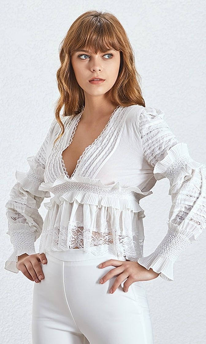 Extra Special Lace Long Lantern Sleeve Plunge V Neck Ruffle Blouse Top - 2 Colors Available
