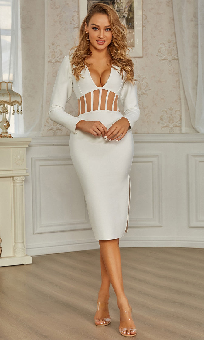 Cutting Away White Sheer Mesh Cut Out Long Sleeve V Neck Side Slit Bandage Bodycon Midi Dress