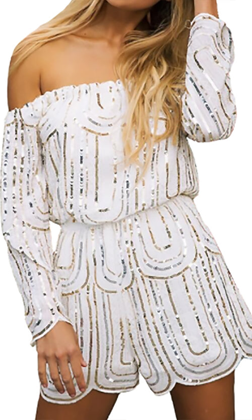Deco Romance White Geometric Sequin Long Sleeve Off The Shoulder Romper Playsuit