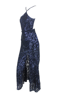 Good Gossip Navy Blue Sequin Sleeveless Spaghetti Strap Halter Backless Side Slit Maxi Dress - Sold Out