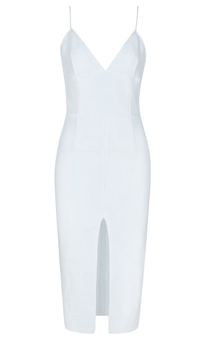 Pure Sophistication White Sleeveless Spaghetti Strap V Neck Front Slit Bodycon Bandage Maxi Dress