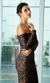 Glam It Up Black Glitter Swirl Pattern Long Sleeve Off The Shoulder Maxi Dress