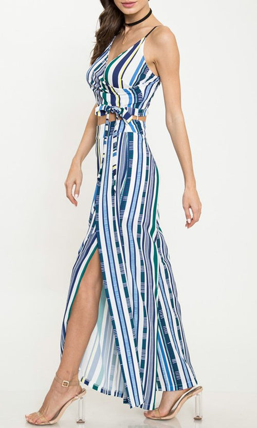 Torn Apart Blue Vertical Stripe Pattern Sleeveless Spaghetti Strap Cross Wrap V Neck Crop Top Wide Leg Slit Two Piece Jumpsuit Set