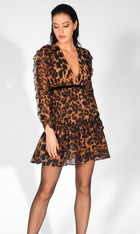 472b138bbe8c Ready To Win Leopard Print Animal Pattern Long Sleeve Plunge V Neck Chiffon  Ruffle Mini Dress
