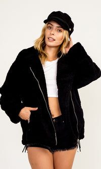 Something's Brewing Faux Shearling Fur Long Sleeve Zip Front Pocket Coat Outerwear - Sold Out