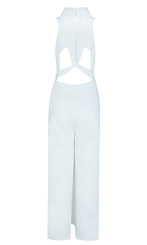 Wine And Roses Sleeveless Turtleneck Cut Out Back Tie Sash Loose Wide Leg Jumpsuit - 2 Colors Available