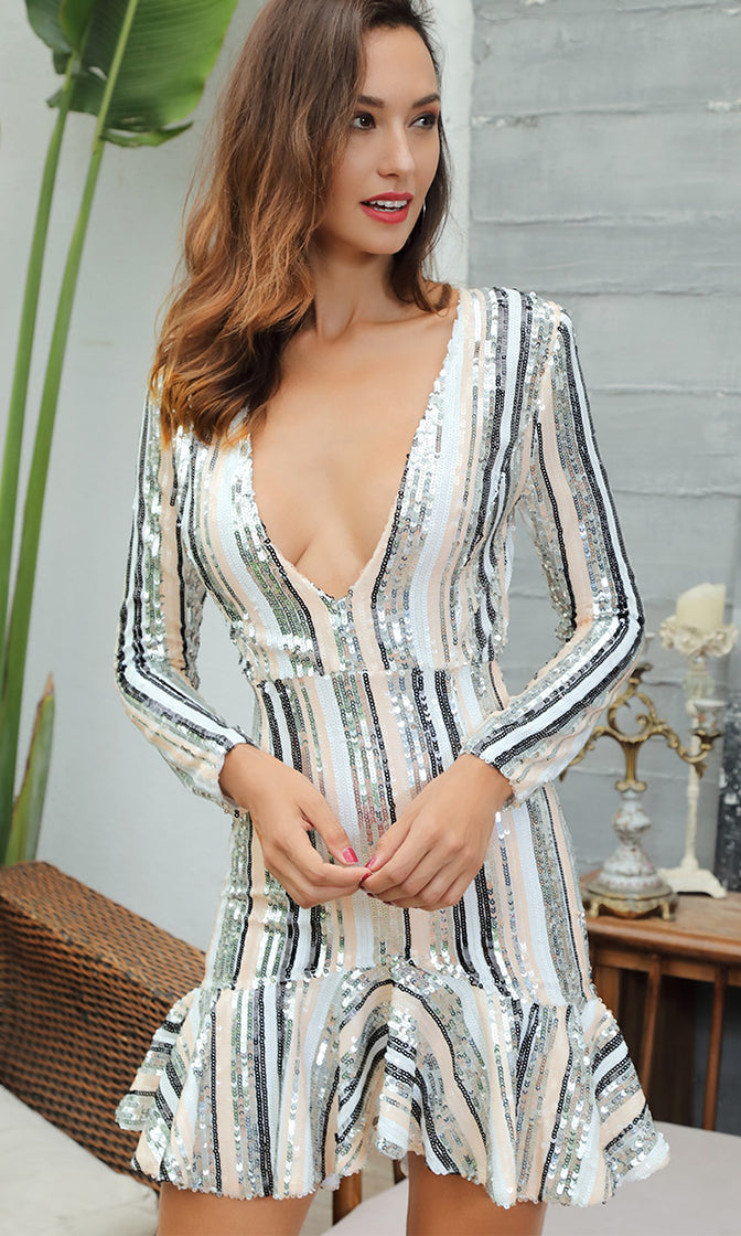 Open All Night Beige Silver White Black Sequin Vertical Stripe Pattern Long Sleeve Plunge V Neck Ruffle Hem Bodycon Mini Dress