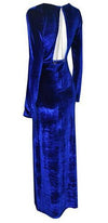 Va Va Voom Blue Velvet Long Sleeve Plunge V Neck Cut Out Back Gold Chain Maxi Dress - Sold Out