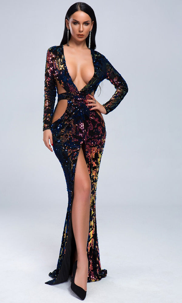 65fe4e24dae Power Surge Black Geometric Sequin Long Sleeve Plunge V Neck Cut Out Side  Front Slit Maxi