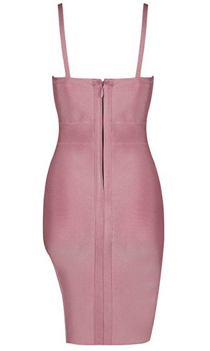 It Factor Dusty Rose Pink Spaghetti Strap Sleeveless Deep V Neck Cut Out Slit Bandage Bodycon Mini Midi Dress