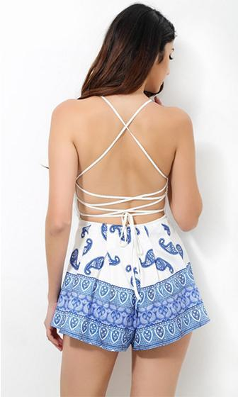 Country Girl White Blue Lace Spaghetti Strap Sleeveless Crisscross Lace Up Plunge V Neck Halter Paisley Romper Playsuit