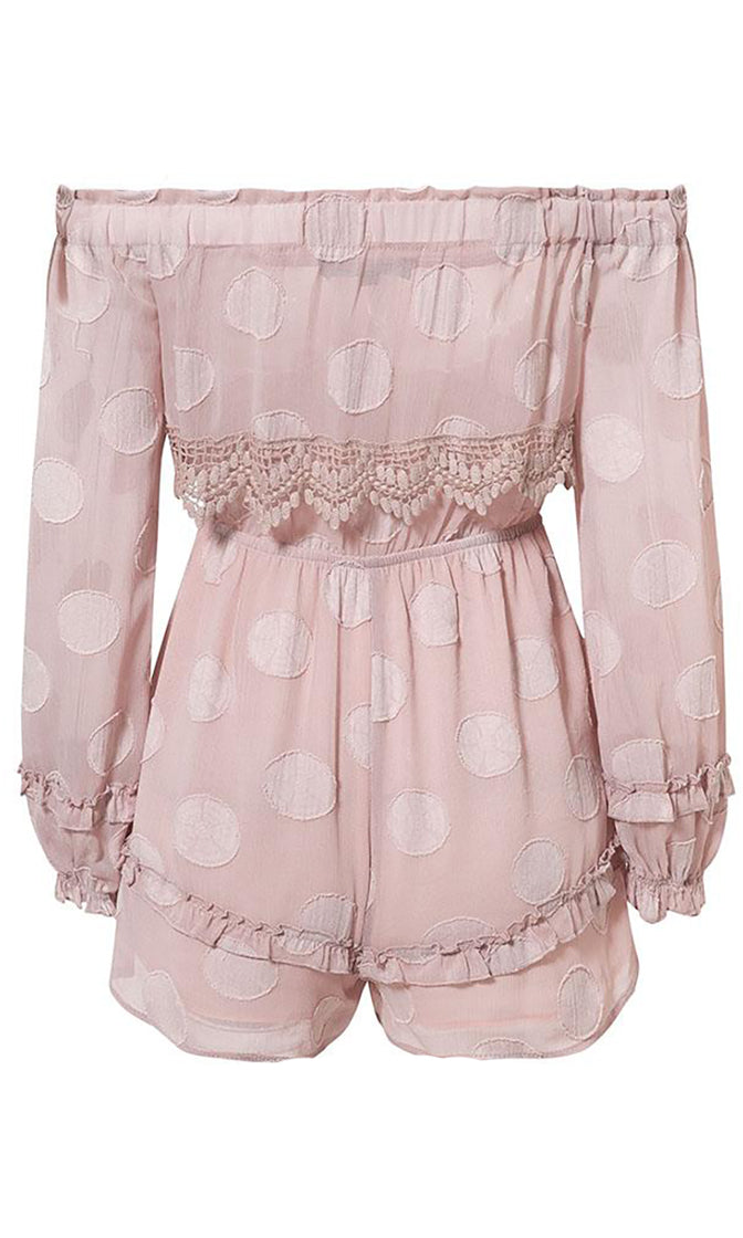 Don't Call Me Polka Dot Pattern Long Lantern Sleeve Off The Shoulder Overlay Lace Ruffle Trim Romper Playsuit - 3 Colors Available