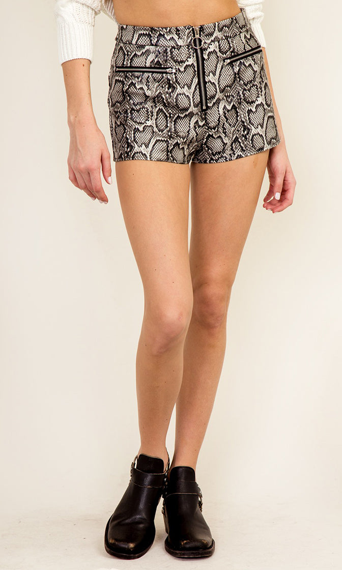 Hot Steppin' Grey White Snake Skin Print Animal Pattern Zip Front Bodycon Shorts - Sold Out