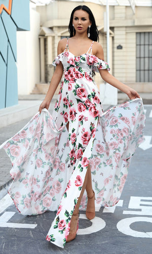 Loving Roses White Floral Pattern Sleeveless Spaghetti Strap V Neck Ruffle Double Slit Casual Maxi Dress