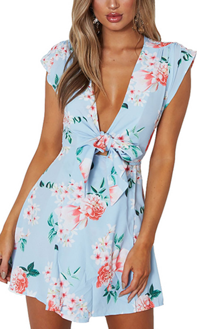 Not Over Your Sky Blue Floral Pattern Cap Sleeve V Neck Bow Casual Mini Dress - Sold Out