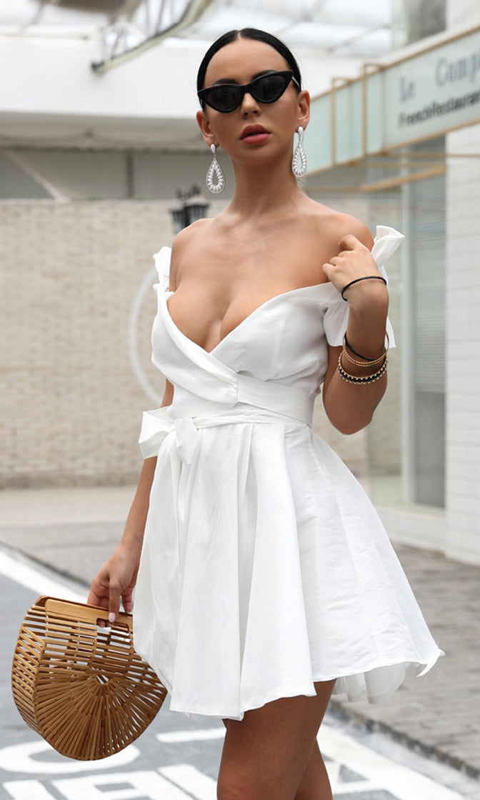 Like A Unicorn White Short Puff Sleeve Cross Wrap V Neck Bow Flare A Line Casual Mini Dress