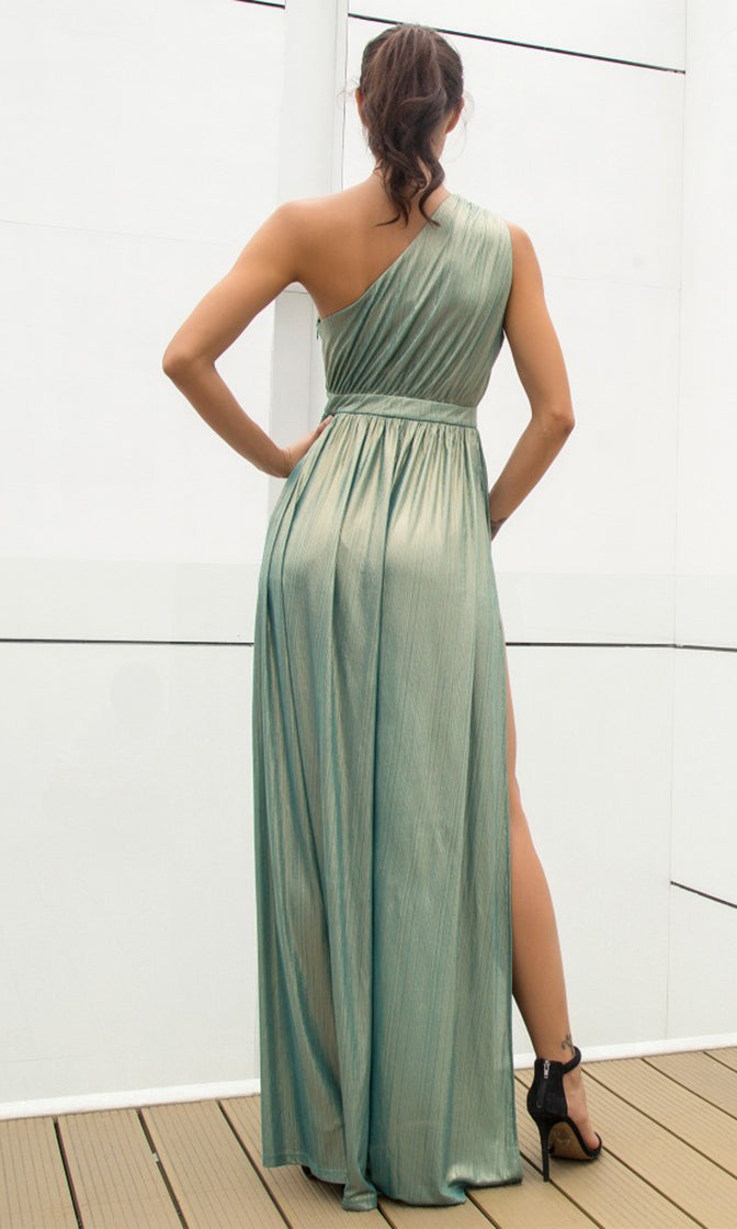Star Of The Show Light Green Sleeveless One Shoulder Side Slit Maxi Dress