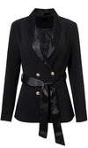 Open For Business Long Sleeve Double Breasted Satin Trim Wrap Belt Blazer Jacket Outerwear - Sold Out