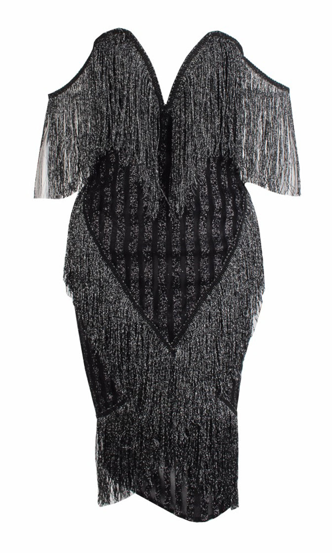Snap Decision Black Glitter Stripe Short Sleeve Off The Shoulder Tassel Bead V Neck Bodycon Midi Dress