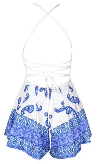 Country Girl White Blue Lace Spaghetti Strap Sleeveless Crisscross Lace Up Plunge V Neck Halter Paisley Romper Playsuit - Sold Out