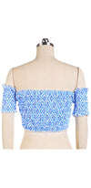 Tighten The Reins Blue White Floral Geometric Short Sleeve Off The Shoulder Smocked Crop Top - Sold out