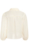 Sheer Simplicity Beige Sheer Mesh Floral Pattern Long Lantern Sleeve Button Front Crop Top Blouse - Sold Out