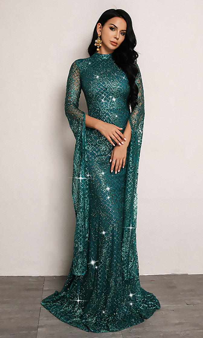 Remember My Love Blue Green Glitter Extra Long Sleeve Mock Neck Maxi Dress