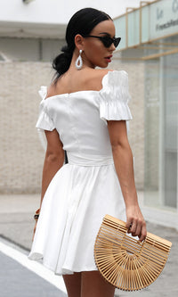 Like A Unicorn White Short Puff Sleeve Cross Wrap V Neck Bow Flare A Line Casual Mini Dress - Sold Out