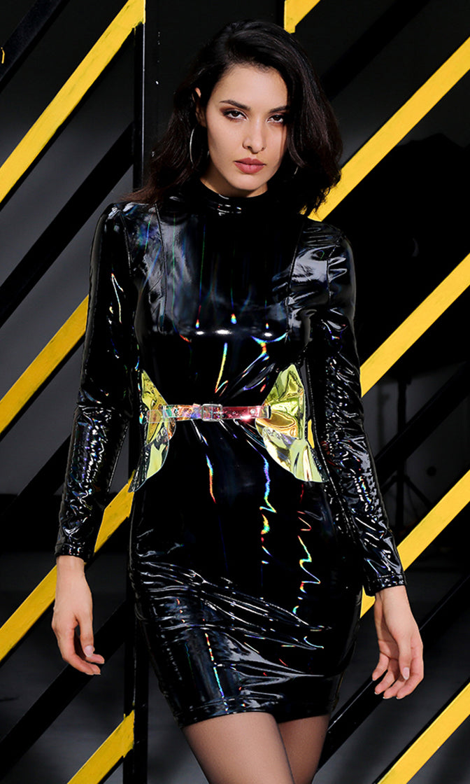 Pop Star Black PU Patent Faux Leather Long Sleeve Mock Neck Bodycon Mini Dress