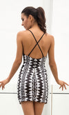 Hot Blooded Black Silver Geometric Pattern Sleeveless Spaghetti Strap Plunge V Neck Backless Double Slit Bodycon Mini Dress - Sold Out