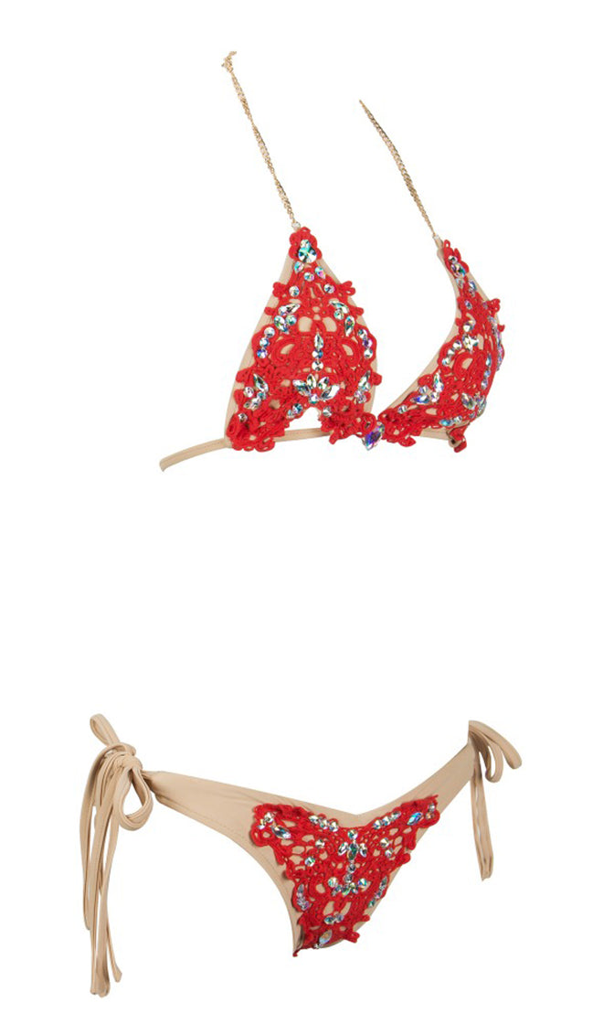 Such A Doll Red Lace Nude Gold Bling Rhinestone Crystal Silver Beaded Gemstone Spaghetti Strap Halter Triangle Cut Out Top Two Piece Brazilian Swimsuit Set