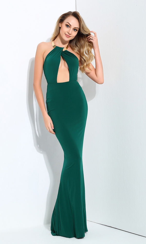 Sealed With A Kiss Green Metal Necklace Halter Neck Cut Out Maxi Dress Evening Gown