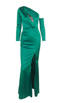 Reaching The Limit Blue Green Satin Long Sleeve One Shoulder Asymmetric Keyhole Front Slit Maxi Dress - Sold Out