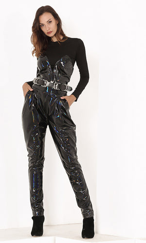 Future Star Black PU Patent Faux Leather Strapless V Neck Skinny Jumpsuit