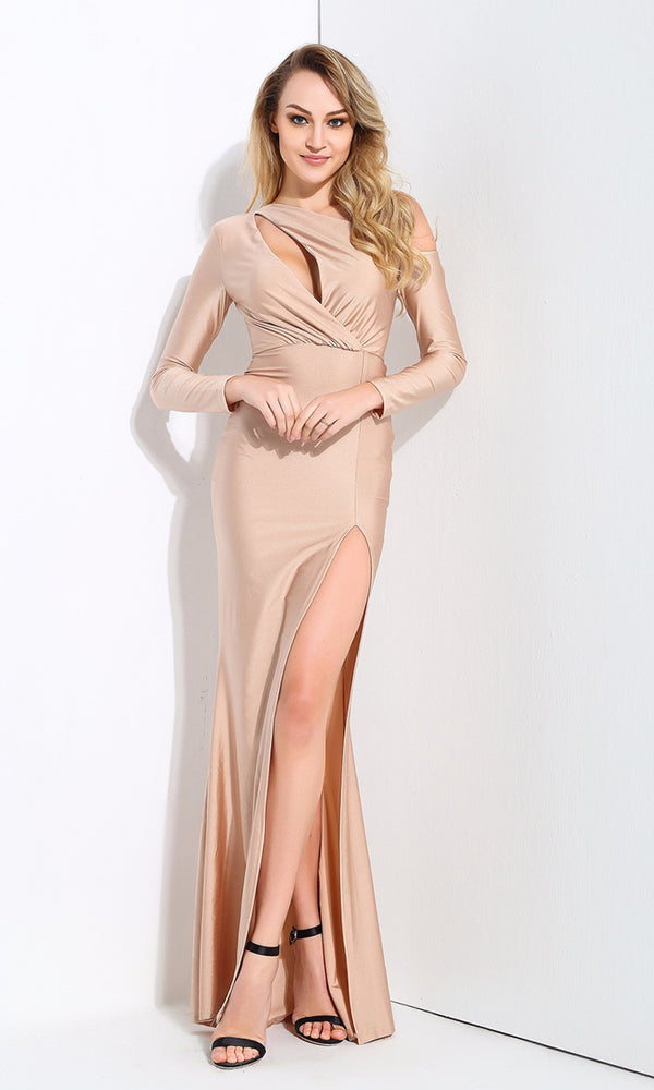 So Smooth Beige Long Sleeve One Shoulder Cut Out Asymmetric High Slit Maxi Dress