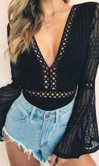Heavenly Bodies Bandage Black Sheer Mesh Lace Long Flare Sleeve Backless Bodysuit Top - Sold Out
