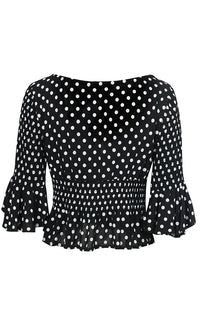 Always Smiling Polka Dot Pattern Ruffle Elbow Sleeve Scoop Neck Tie Smocked Crop Blouse Top - 2 Colors Available - Sold Out