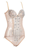 Take The Stage Nude Sheer Mesh Rhinestone Beaded Sleeveless Spaghetti Strap V Neck Bodysuit Top