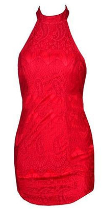 Red Lace Sleeveless Halter Zip Back Bodycon Mini Dress - Sold Out