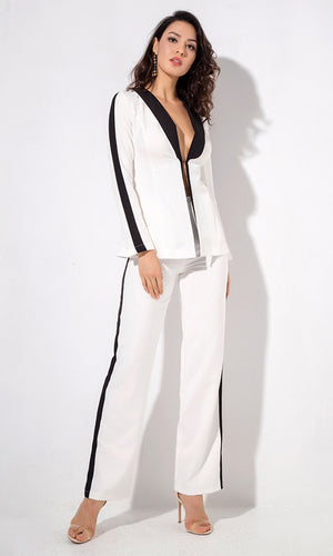 Bossing You Around White Black Long Sleeve Plunge V Neck Straight Leg Two Piece Outerwear Jumpsuit Set
