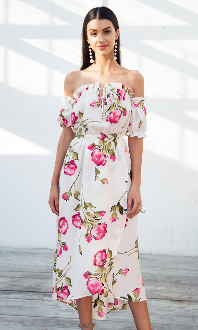Love Is In The Air White Pink Floral Pattern Short Puff Sleeve Off The Shoulder Casual Midi Dress